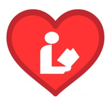 Library Sign Icon in Red Heart Border